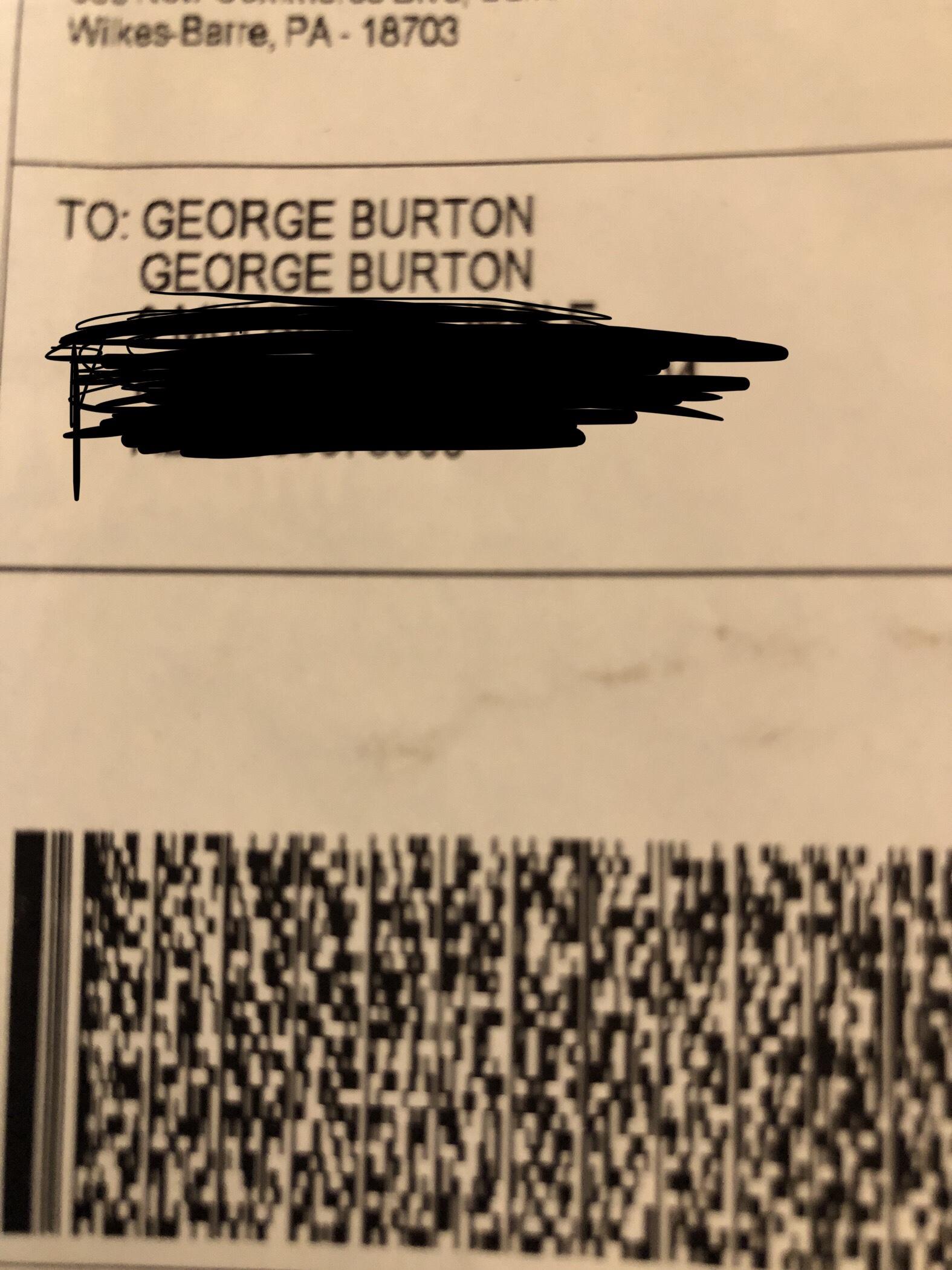 Envelope addressed to George burton