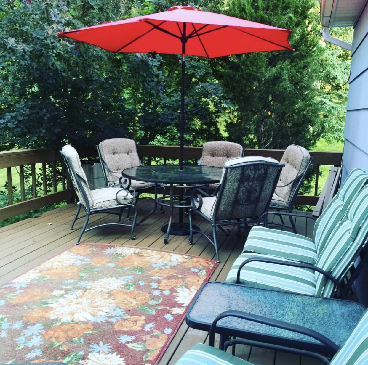 Patio furniture on the deck in the spring