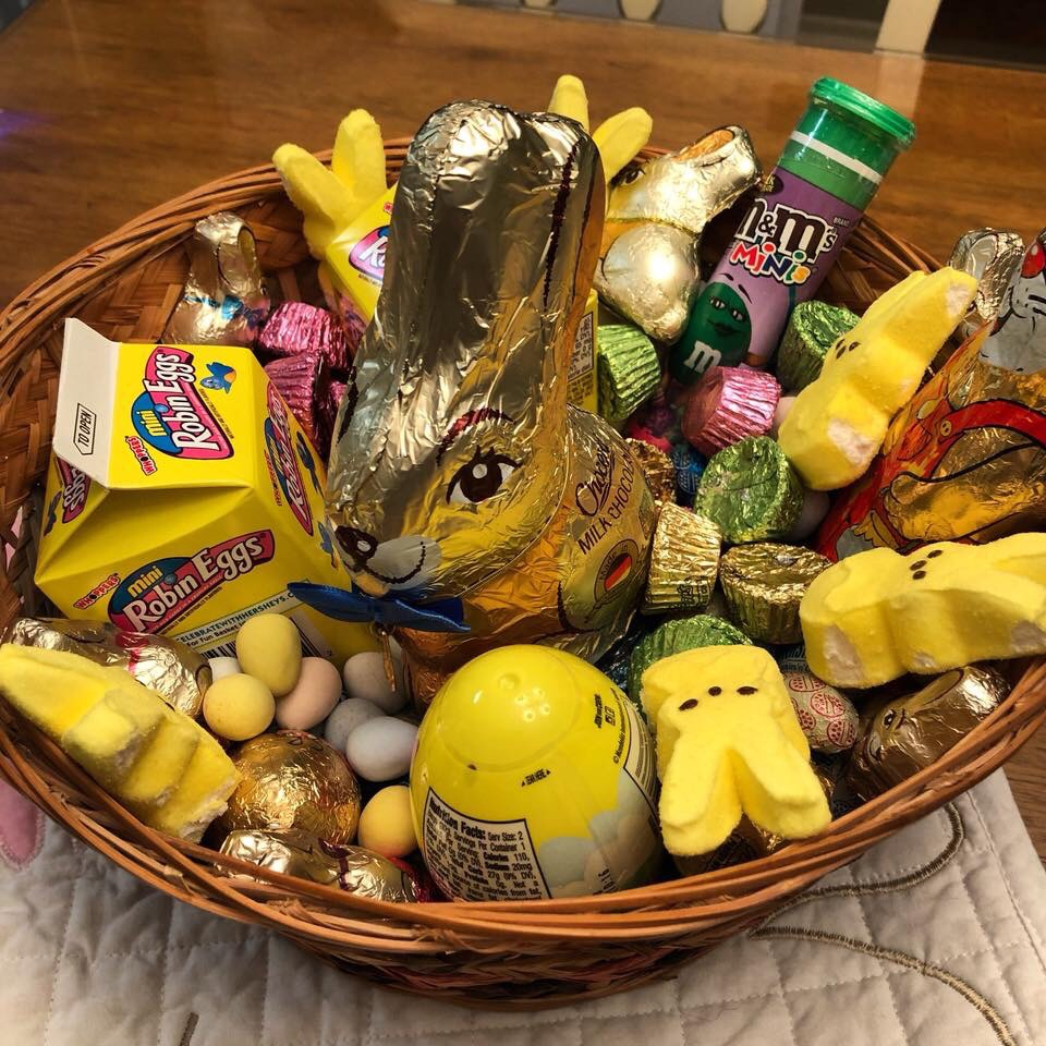 Easter basket full of candy